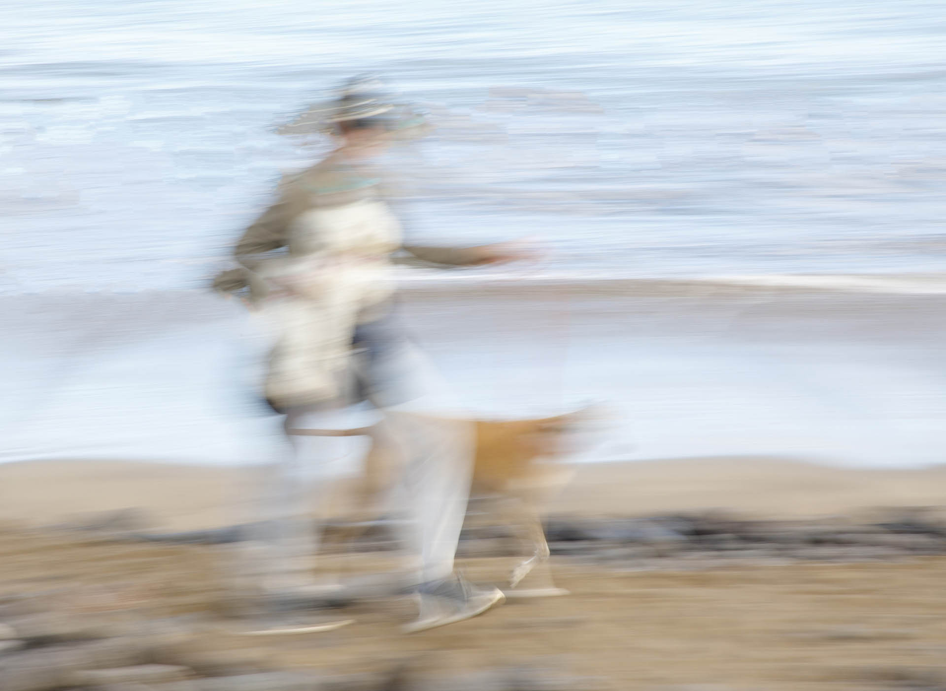 ICM of man walking a dog on the beach